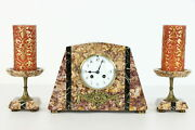 Art Deco Antique French 3 Piece Marble Clock Set Candle Stands Fc 35336