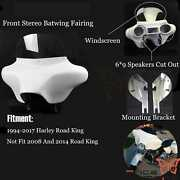 6x9 Abs Speakers Batwing Fairing Stereo Detachable For Harley Road King White
