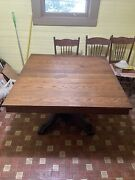 Extremely Rare Solid Oak 4x4 Tiger Claw Square Table