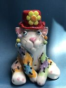 Amy Lacombe 1997 Sitting Patchwork Cat Figurine With Red Hat -signed Lacombe '97