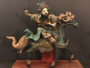 Vintage Antique Chinese Warrior Roof Tile Riding Horse Look Wooden Base