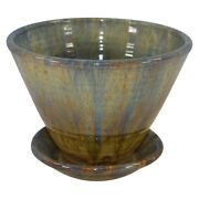 Shearwater Pottery 1999 High Glaze Flower Pot Planter And Saucer Anderson