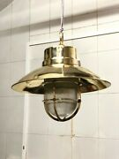 Antique Nautical Ship Brass Long Vintage Pendant Light With Shade/hook Lot Of 2