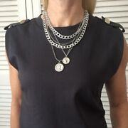 Silver Or Gold Multi Layer Chunky Chain Statement Hip Hop Necklace With Coins