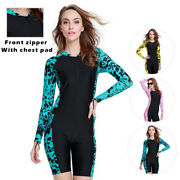 Womens Shorty Wetsuit Quick Dry Ultra Thin Long Sleeved Front Zipper Diving Suit
