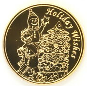 Roll Of 18 Gold Plated 1 Oz Copper Rounds Holiday Wishes Christmas Tree Coins