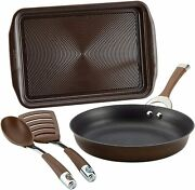 Symmetry Hard Anodized Nonstick Cookware Pots And Pans Set, 4 Piece, Chocolate
