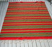 Vtg Mcm Wool Blanket South American Mexican South West Weaving Textile Serape