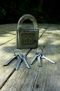 Vintage Padlock And 2 Set Of 3 Keys Unique Working Order Made In Russia Pp-d