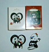 Hallmark 1998 And 2011 Looney Tunes Pepe And Penelope Ornaments