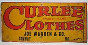 Curlee Clothes Joe Warren And Co Conway Mo Original Old Embossed Tin Ad Sign