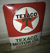 Texaco Star Gasoline Sign The Motor Oil Insulated Gas ⛽️ Metal