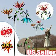 Garden Large Kinetic Wind Spinner Metal Windmill Three Spin Flowers Butterfly Qf