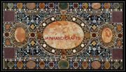 5and039x3and039 Black Marble Center Coffee Table Top Pietra Dura Handicraft Inlay Work