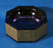 Purple Moser Glass Ashtray With Golden Soldier Design On The Sides