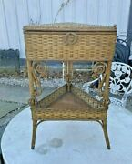 Antique Victorian Heywook Wakefield Natural Wicker Sewing Table Stand