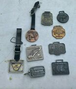 Collection Of 9 Vintage Mack Michelin Construction Watch Fobs Mno