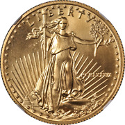 1989 Gold American Eagle 25 Ngc Ms69 Key Date Brown Label