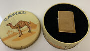 Vintage Zippo 1996 Camel Scrollwork Brass Lighter Model Axii In Tin New Old
