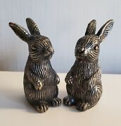 Vintage Pewter Bunny Salt And Pepper Shakers India. 4 Tall Easter Animal Silver