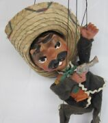 Vintage 16andrdquo Mexican Sombrero Man Marionette Puppet With Pistol