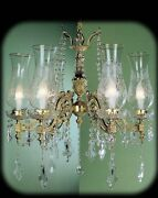 Chandelier In Fusion Of Brass Classic A 6 Lights Bga 205 With Glass Antique