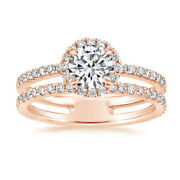 14k Or Rose Superbe Coupe Ronde 1.40 Ct Real Diamond Engagement Ring Taille 7 8