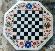 15 White Marble Chess Table Top Inlay Lapis Malachite Room Kids Game