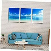 Blue Ocean Decor Seascape Canvas Wall Art For Living Room Bedroom White Clouds