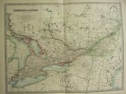 1896 Large Victorian Map Dominion Of Canada Eastern Central Ontario Quebec