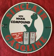 Vintage Style Sinclair Gasoline With Dino The Dinosaur 12 Inch Porcelain Sign .