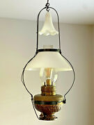 Antique Brass And Iron Glass Hanging Oil Lamp Chandelier, With Bell. H And B