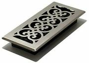 Scroll Floor Register 4x10 Easy To Install Brushed Nickel Finish Steel Plated
