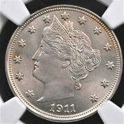 1911 Liberty V Nickel Ngc Ms 64 Super Bright And Crisp Silvery Surfaces With A