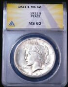 1921 High Relief Peace Dollar Anacs Ms62 Original White Nice Luster Ge915