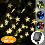 40ft 100leds Star Twinkle Solar Power Outdoor Waterproof Christmas String Lights