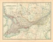 1911 Large Victorian Map Canada Eastern Central Ontario Quebec
