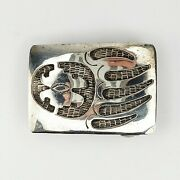 Native American Jewelry Sterling Silver 925 Hopi Overlay Bear Paw Belt Buckle