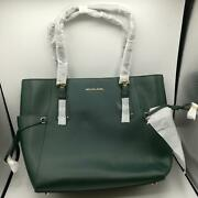 Voyager East West Dark Hunter Green/gold Crossgrain Leather Tote