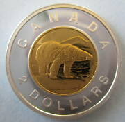 Canada 2012 2 Gold Plated 99.99 Proof Silver Toonie Heavy Cameo Coin