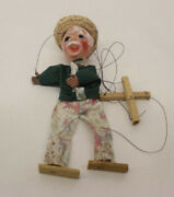 """Vintage 16"""" Old Man W/ Blue Eyes , Straw Hat And Florals Pants Marionette Puppet"""
