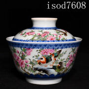4.2andrdquochinese Antique Yongzheng Pastel Flower And Bird Pattern Cover Bowl