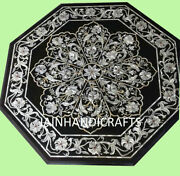 30and039and039 Black Marble Coffee Guest Table Top Rare Marquetry Inlay Garden Decor Gift