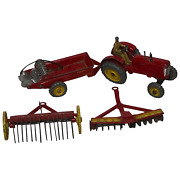 1950and039s Dinky Toys Massey Harris Red Tractor Plough Manure Spreader Disc Harrow