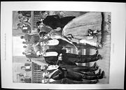 Antique Old Print A General Favourite 1891 Lady Men Ball Gown Suit Bow Tie 19th