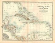 1911 Large Victorian Map West India Islands And Central America Cuba Jamaica Etc