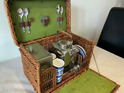 1915 Edwardian Vintage 4-person Wicker Picnic Basket Set By G W Scott And Sons