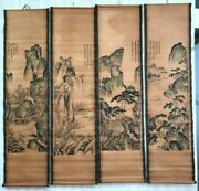 China Calligraphy Paintings Scrolls Old Chinese Painting Scroll Four Screen