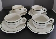 4 Sets Vintage Buffalo China Diner Style Green Stripes Coffee Cups And Saucers Usa