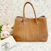 Hermes Garden Party Pm Negonda Leather Hand Tote Bag Brown Square K 2007 Used